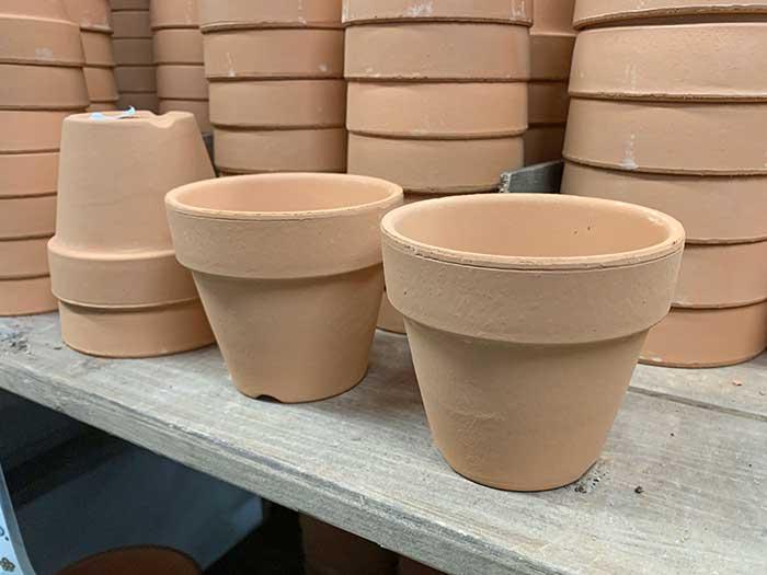 普通の素焼きの植木鉢
