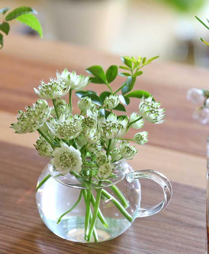 ガラス花器に生けた普通の花