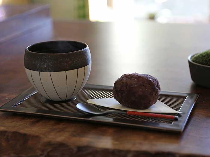 収穫した小豆で作った自家製おはぎ