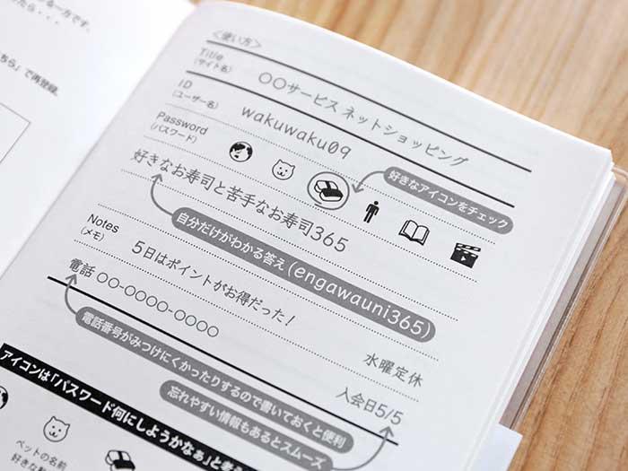 パスワードノートの使い方
